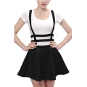 New Trendy Solid Color Hollow Out Strap Black Mini A-Line Braces Skirt