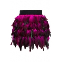 Luxury Peacock Ombre Feather High Waist Dance Mini Skirt for Women