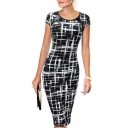 Trendy Unique Sketch Round Neck Short Sleeve Midi Pencil Dress for Office Lady