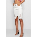 Womens High Rise Distressed Ripped Knee Length Slit Front White Bodycon Denim Skirt