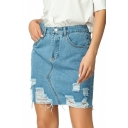 Summer Fashion Destroyed Ripped Frayed Hem Mini Blue Pencil Skirt Denim Jean Skirt