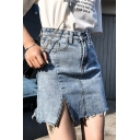 Summer Fancy High Rise Zip Slit Side Raw Hem Light Blue Mini A-Line Jean Denim Skirt