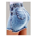 Womens Hot Fashion High Waist Raw Hem Short Mini Bodycon Denim Skirt
