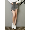Fashion Smoke Grey Summer Destroyed Frayed Hem Mini Asymmetrical Denim Skirt