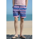 Guys Summer Fashion Tribal Geometric Printed Cotton Loose Sport Swim Shorts