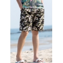Guys Fancy Camo Printed Drawstring Waist Quick Drying Swim Trunks with Lining