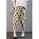 Summer New Fashion Classic Polka Dot Printed Elastic Waist Linen Harem Pants for Women