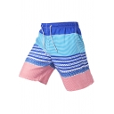 Guys Fashion Striped Printed Drawcord Waist Quick Dry Beach Swim Shorts