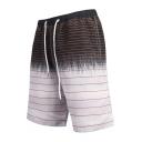 Summer Guys Fashion Ombre Stripe Printed Drawstring Waist Surfing Shorts Swimwear White Swim Trunks with Liner