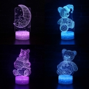 7 Color Changing LED Night Light with Touch Sensor Girl Bedroom Gift Bear Pattern 3D Optical Night Lamp