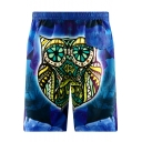 Dark Blue Drawstring Mens Trendy Owl Printed Swim Shorts with Pockets