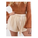 Summer Trendy Solid Color Tied Waist High Rise Loose Fit Pull-On Shorts