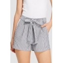Classic Vertical Stripe Printed Bow-Tied Waist Casual Loose Shorts for Women