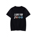 Summer Funny Letter I Love You 3000 Basic Short Sleeve Round Neck Relaxed T-Shirt