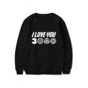 Cool Simple Letter I Love You 3000 Long Sleeve Round Neck Casual Sweatshirt