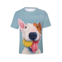 Bull Terrier Cute 3D Dog Pattern Light Blue Unisex Casual Tee
