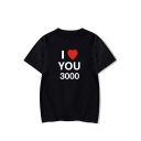 Fashion Heart Letter I Love You 3000 Short Sleeve Round Neck Casual Unisex T-Shirt