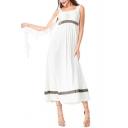 Womens New Fancy Cosplay Greek Goddess Ruffled Ribbon White Maxi Cami Dress
