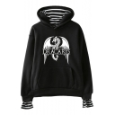 Trendy Dragon Letter DRACARYS Print Fake Two-Piece Long Sleeve Loose Fit Hoodie