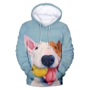 Cute Bull Terrier Dog Print Light Blue Pullover Drawstring Hoodie