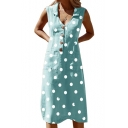 Classic Fashion Polka Dot Printed V-Neck Sleeveless Button Front Midi A-Line Dress