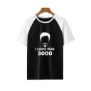 Trendy Colorblock Round Neck Short Sleeve Figure Letter I Love You 3000 Summer Relaxed T-Shirt