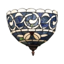 1 Light Kapok Pattern Wall Light Tiffany Style Stained Glass Sconce Lamp in Blue for Shop Restaurant