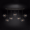 Globe Shade Ceiling Light 7 Lights Creative Metal Clear Glass Island Light in Black for Living Room