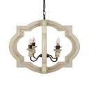 Wood Shade Candle Chandelier Light Dining Room Restaurant 4 Lights Vintage Style Pendant Light in White