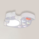 White Squirrel Shape Flush Ceiling Light Cute Acrylic Metal Overhead Light with Heart Pattern and White Lighting for Kindergarten