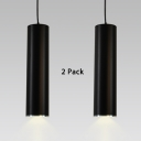 (2 Pack)Modern Black Cylinder Spot Light with Heat Sink Long Life LED Pendant Lamp in Warm for Bedroom Study