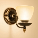 Vintage Style Wall Light with White Bowl Shade 1/2 Lights Metal Frosted Glass Wall Lamp for Bedroom