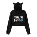 New Trendy Letter I Love You 3000 Long Sleeve Cute Cat Ear Design Cropped Hoodie for Girls