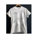 Cool Allover Fingers Gesture Printed Basic Short Sleeve Cotton White Tee