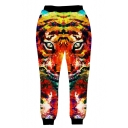 New Stylish 3D Tiger Printed Elastic Waist Casual Pants