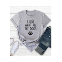 I JUST WAN ALL THE DOGS Summer Basic Grey Graphic Tee