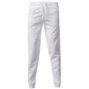 Mens Fashion Solid Star 3D Embossing Drawstring Waist Casual Sport Trousers
