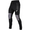 Mens Cool Zip Pocket Drawstring Waist Knee Patchwork Outdoor Running Fitness Pencil Pants