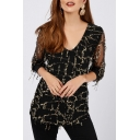 Women's Designer Unique Black Sequined Mesh Long Sleeve V-Neck T-Shirt