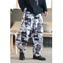 Fashion Chinese Style Printed Baggy Bloomers Harem Pants for Men