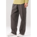 Men's New Stylish Cotton and linen Basic Simple Plain Loose Straight-Leg Lounge Pants