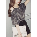 Girls Cool Glitter Silk Cold Shoulder Short Sleeve Nightclub T-Shirt