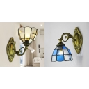 Tiffany Style Flower Shade Wall Light 1 Light Stained Glass Sconce Light in Blue/White for Bedroom