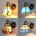Mediterranean Style Dome Wall Light Glass and Metal 1 Light Colorful Tiffany Sconce Light for Restaurant Bar