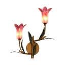 Glass and Metal Wall Lamp 2/3 Lights Rustic Purple Bloom Shape Sconce Light for Bedroom Bathroom
