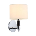 Simple Style White Drum Wall Sconce Single Light Fabric Metal Sconce Light in Chrome for Hotel