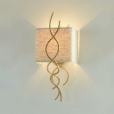 Creative White Rectangle Shade Sconce Light Fabric and Metal 1 Light Gold/Silver Light Fixture for Hallway