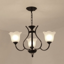 Metal and Glass Pendant Light 3/6/8 Lights Antique Style Flower Shade Chandelier in Black for Bedroom