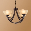 Up Lighting Foyer Pendant Light Metal and Frosted Glass 4/6/8/12 Lights Antique Style Chandelier