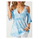 Women's Cold Shoulder Tie Dyed Print Sexy V Neck Blue T-Shirt
